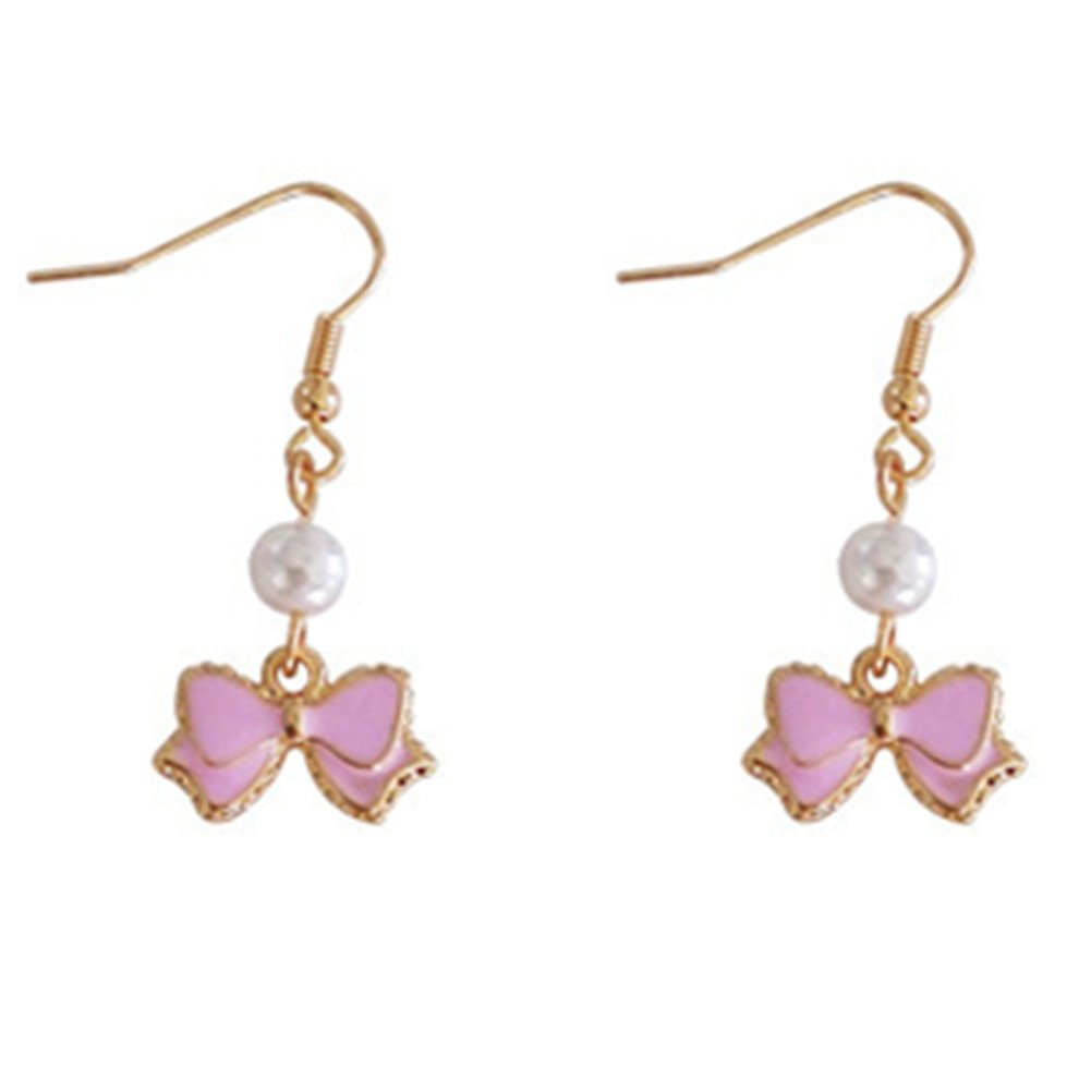 18K Gold Plated Two-Tone Pink Bowknot Bow-tie With Simulated Pearls Women Dangle Drop Earring Chengukeji CYKJ49