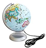 """Children's Lighted Learning Globe with Animals 10"""". Made in the USA"""