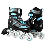 Kids/Teen Adjustable Inline Skates For Girls and Boys Durable Outdoor Roller Blades Illuminating Front Wheel