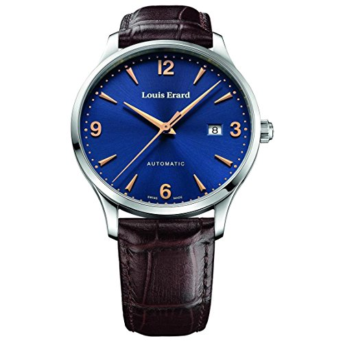 Louis Erard Men's 1931 40mm Brown Leather Band Steel Case Automatic Blue Dial Analog Watch 69219AA15.BDC80