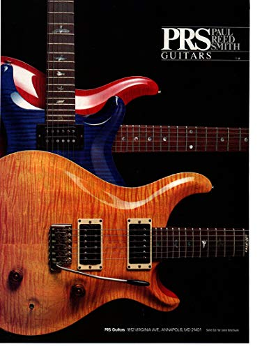 Magazine Print ad: 1990 PRS Paul Reed Smith Guitars, Custom 24, Maple, Stars and Stripes Design