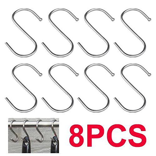 Popamazing 8 x 85mm Stainless Steel S Hooks Kitchen Meat Pan Utensil Clothes Hanger Hanging