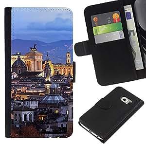 All Phone Most Case / Oferta Especial Cáscara Funda de cuero Monedero Cubierta de proteccion Caso / Wallet Case for Samsung Galaxy S6 EDGE // Old City Architecture Church