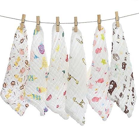 6 unidades 6 capas bebé muselina paños toallas de baño suave algodón Natural reutilizable recién nacido bebé toalla de cara y - Manopla de gasa para piel ...