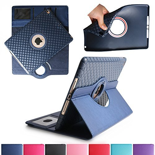 iPad Air 2 Case, Boriyuan Detachable 360 Degree Rotating Stand Flip Folio PU Leather Smart Cover with Auto Sleep / Wake Function + Card Slot + Screen Protector + Stylus For Apple iPad 6, Dark Blue ()