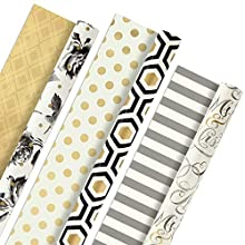 Hallmark Reversible Wrapping Paper, Elegant (Pack of 3, 120 sq. ft. ttl.) Gold, Silver, Black Designs for Weddings, Birthdays, Graduations, Holidays and More