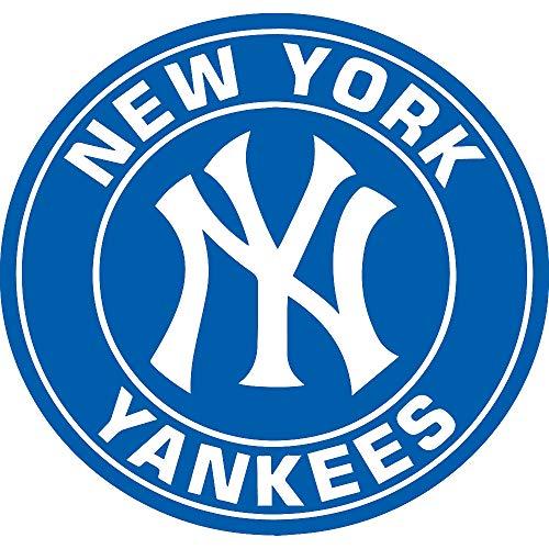 NBFU DECALS MLB New York Yankees Logo 3 (Azure Blue) (Set of 2) Premium Waterproof Vinyl Decal Stickers for Laptop Phone Accessory Helmet CAR Window Bumper Mug Tuber Cup Door Wall Decoration ()