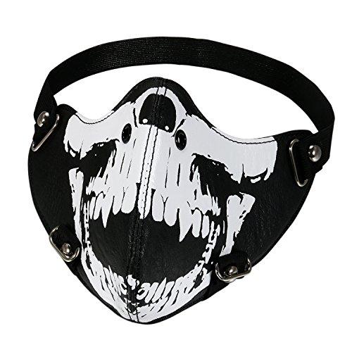 TSWRK Skull Mask Halloween Costume Biker Half Face Wind Protector Studded Vented Strap