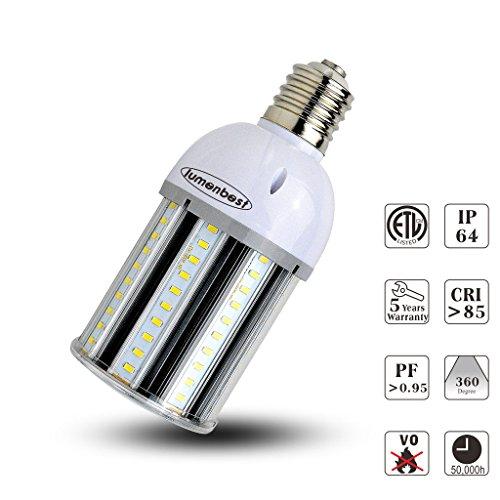 lumenbest led Street and Garden light,27w led corn bulb,3600Lumen,E26 Medium Screw Base,AC100-277V,5000K(daylight),5 Year Warranty,IP64,360°Light