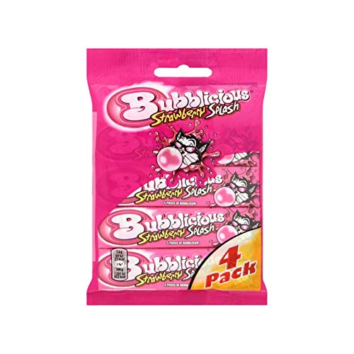 Chewing Gum | Bubblicious | Chewing gum Strawberry Splash Gum 4 x 38g | Total Weight 5.36 ounce
