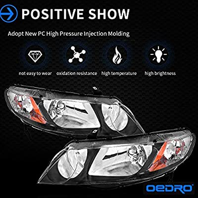 Compatible for 2006-2011 Honda Civic Sedan 4 Door Headlights Assembly OEDRO (Dx, EX, EXS, GX, LX, LXS,Si) Black Housing Amber Reflector Clear Lens Headlamp, 2-Yr Warranty: Automotive