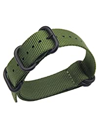 19mm Army Green Luxury Exquisite Men's one-piece NATO style Nylon Perlon Watch Bands Straps Textile