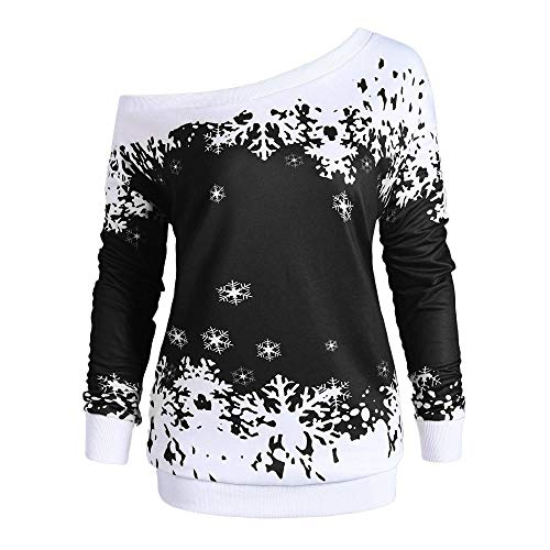4fac781236b6 GREFER Women Tops Snowflake Print Long Sleeve Sweatshirt Pullover Blouse  Shirt Happy Christmas