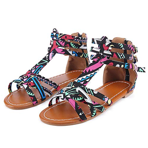 China Rose Garden Block (ANJUNIE Women's National Wind Bohemian Style Large Size Contrast Flat Sandals Beads Coin Back Zip Thong Dressy Shoes(Black,38))