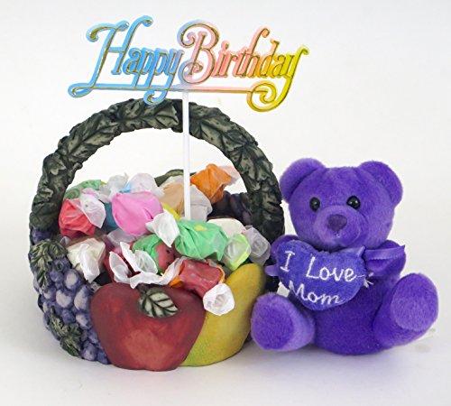 """ I love Mom"" birthday basket, includes taffy, and teddy."