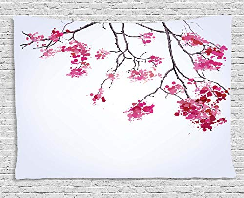 Ambesonne Japanese Tapestry by, Cherry Blossom Sakura Tree Floral Branch Spring Season Theme Image, Wall Hanging for Bedroom Living Room Dorm, 80 W X 60 L Inches, Pink Black and ()