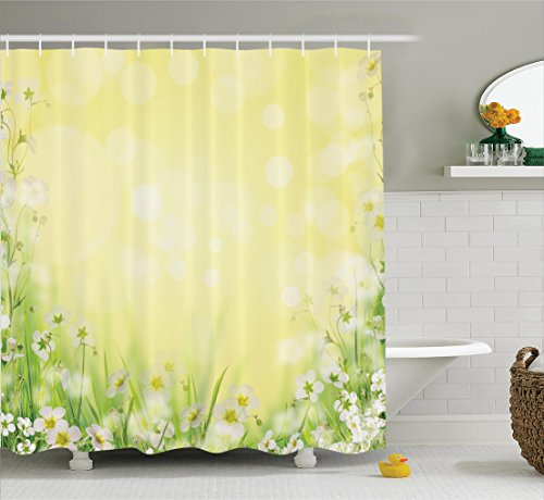 Ambesonne Flower House Decor Collection, Natural Field Wildflowers Sunshine Grass Springtime Blurred Image Print, Polyester Fabric Bathroom Shower Curtain Set with Hooks, Yellow Green White