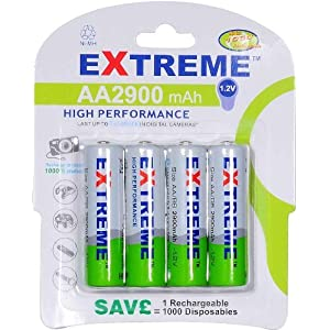 Extreme 2900 ma/H LR06 AA Nickel Metal Hydride Rechargeable Batteries Pack of 4
