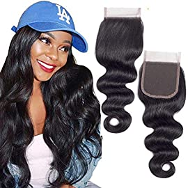 QTHAIR 12A Brazilian Body Wave Lace Closure (14inch) 4×4 Free Part Swiss Lace Closure Natural Black Brazilian Virgin…
