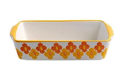 Rectangular de cerámica para horno sartenes de cocina utensilios de cocina para cupcakes, color amarillo