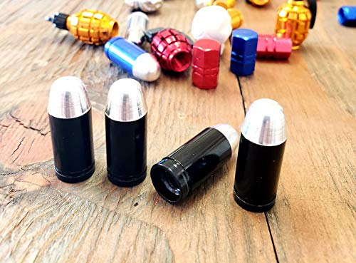 Trik Topz Bullet Valve Caps - Kustom Kapz Four Pack Black Bullet Tire Valve Cap Automobile Motorcycle ATV Harley Truck Hotrod Cycle Trailer rv