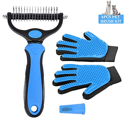 OKA 4PCS Pet Dog/Cat Brush Kit – Pet Hair Remover Brush Glove/Comb Tool/Pet Toothbrush Perfect for Dogs & Cats with Long…