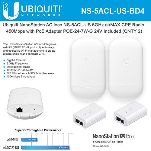 NanoStation AC loco NS-5ACL-US Loco5ac 5GHz 802.11ac airMAX CPE Radio 450Mbps Wireless Access Point (2-Pack) with PoE POE-24-7W-G Included (2-Pack) by UBNT Systems