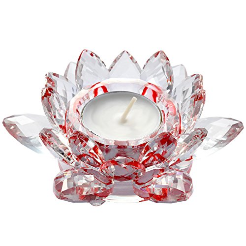 mookaitedecor Red Crystal Lotus Candle Holders, Glass Tealight Holders for Wedding Birthday Party Dining Table Home Decor 4.7 Inch