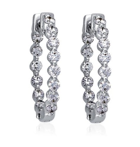 2.00 ct Ladies Round Cut Diamond Hoop Huggie Earrings ()
