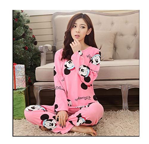 Spring Autumn Women Pyjamas Cartoon Printed Cute Pattern Pajamas Set Thin Pijamas Mujer Sleepwear Long Sleeve Nightgown C Y Hong mi M ()