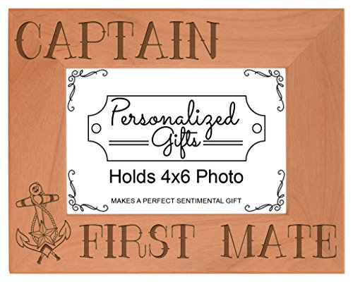 ThisWear Nautical Gift Sail Captain First Mate Anchor Natural Wood Engraved 4x6 Landscape Picture Frame Wood