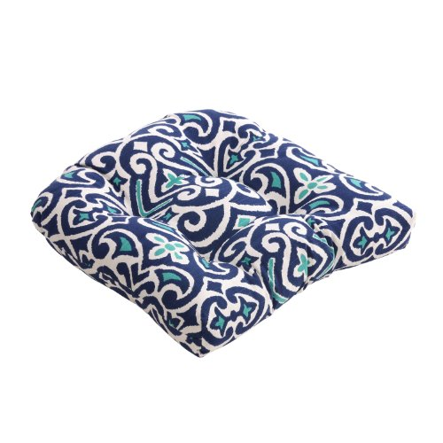 Pillow Perfect Blue White Damask Chair Cushion