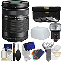 Olympus M.Zuiko 40-150mm f/4.0-5.6 R Micro ED Digital Zoom Lens (Black) with 3 Filters + Flash + Diffusers + Kit for Micro Four-Third Cameras