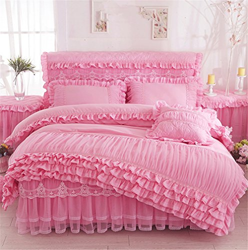 Lotus Karen Romantic Solid Color Lace Ruffles Korean Princess Bedding Sets Cheap Thick Brushed Cotton Girls Duvet Cover Sets,1Duvet - Bedding Sets Princess