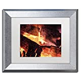 Trademark Fine Art Fireplace by Kurt Shaffer, White Matte, Silver Frame 11x14-Inch