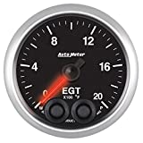 Auto Meter 5645 Elite 2-1/16'' 0- 2000 Degree Fahrenheit Exhaust Gas Temperature Pressure Gauge