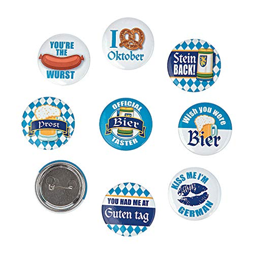 Fun Express - Oktoberfest Party Buttons (24pc) for Party - Jewelry - Pins - Novelty Buttons - Party - 24 Pieces -