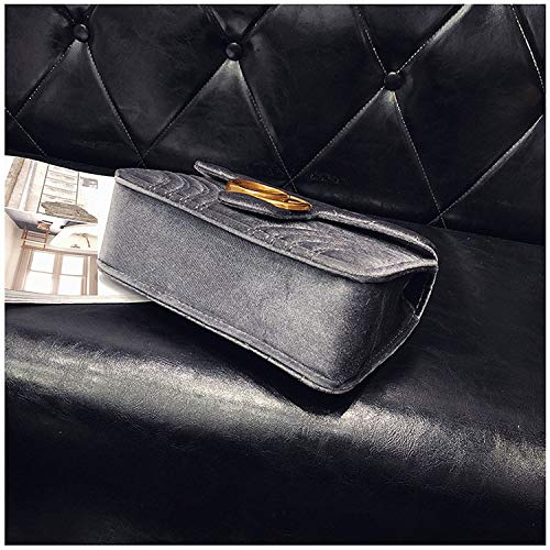 c0be9dff199b Gentle C GC Marment Style 443497 Velvet Shoulder Bag Women's Velvet Simple  Elegant Quilted Shoulder Bag Stylish Crossbody Bag Golden Chain-Small Gray