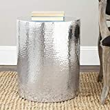 Brass Drum Coffee Table 20.9 in. Accent Table in Silver