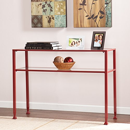 Southern Enterprises Glass Console Table, Red Finish (Canvas Living Room Table)