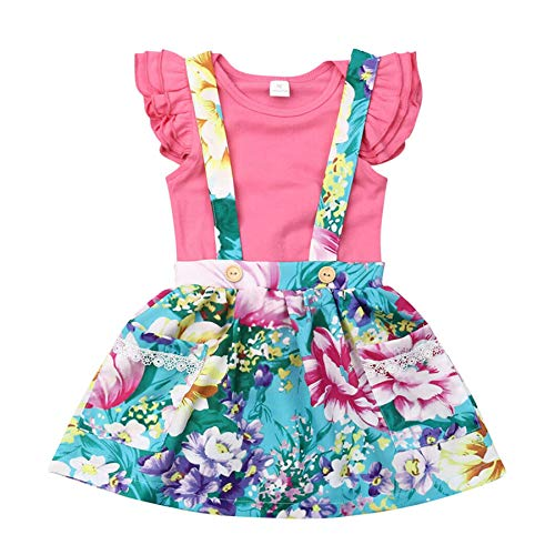- Diufon Summer Children Set, Baby Girls Flying Sleeve Frilled Top Romper Fashion Wild Bib Floral Strap Skirt Two-Piece Set (80, Pink)