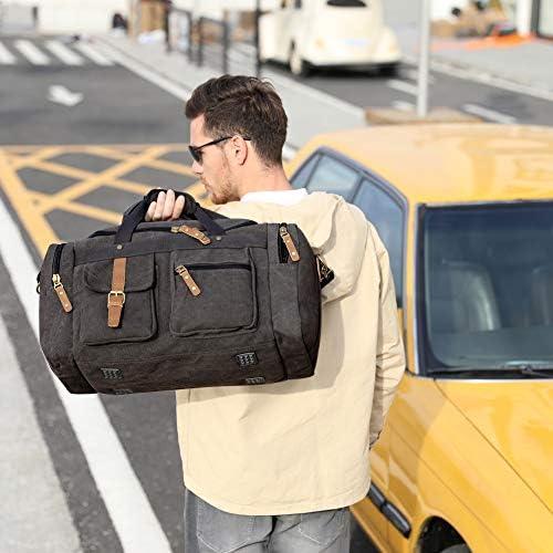 Plambag Large Canvas Duffel Bag Overnight Travel Tote Weekend Bag Dark Gray