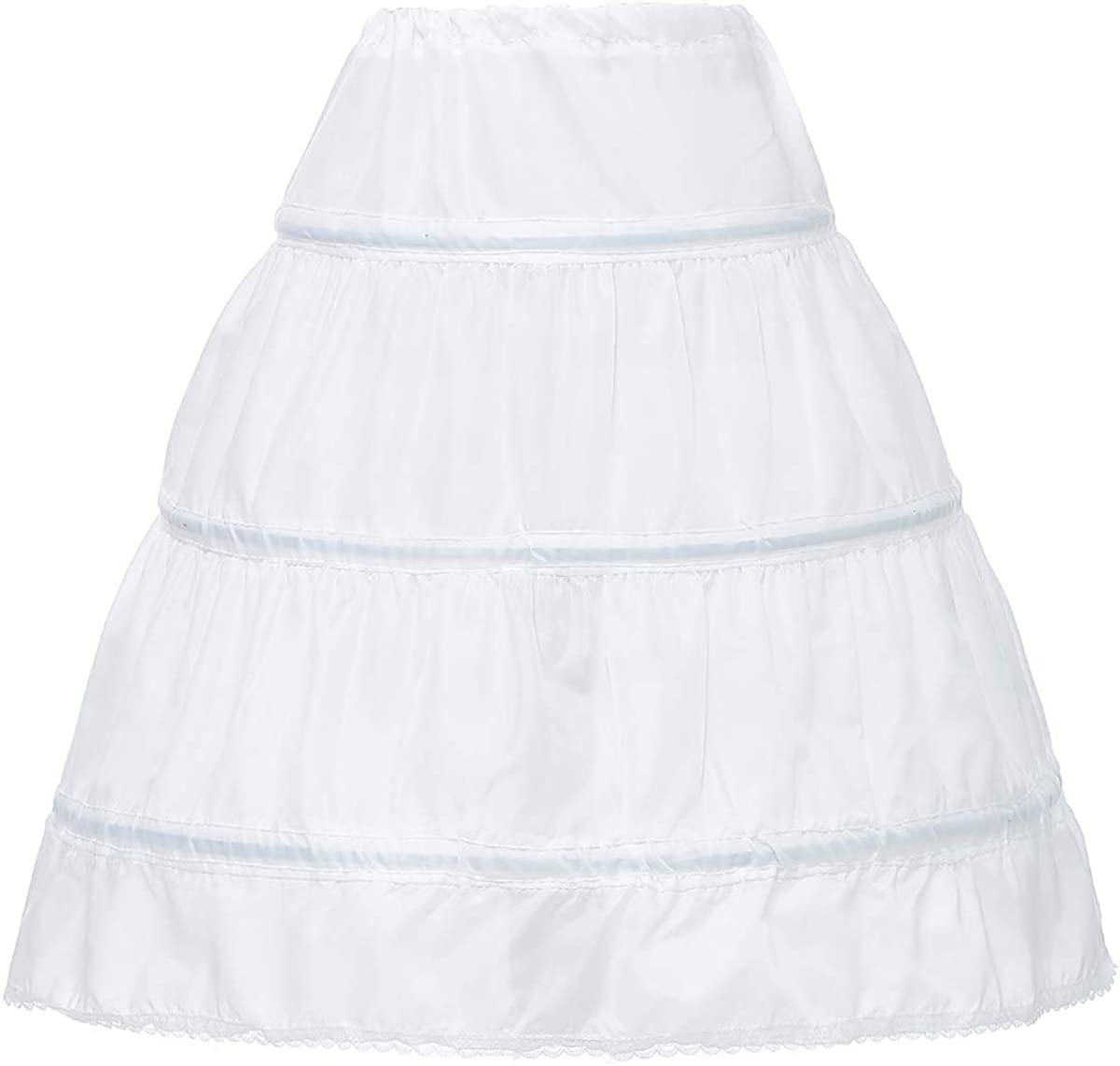Milkbridal Girls 3 Hoops Petticoat for Girls Full Slip Flower Girl Crinoline Skirt