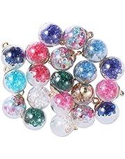 Exceart 20St Kristallen Glazen Bol Hanger Bedels Voor Ketting Armband Diy Ambachtelijke Sieraden Maken Willekeurige Geassorteerde Kleur