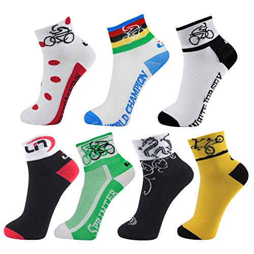 LIN 7 Pack Cycling Socks CoolMax Ankle