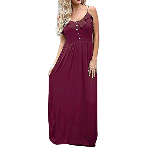 ad3a01b10 DIANA'S Dress, Women's Halter Casual Sleeveless Button Ruffle Maxi Summer  Cami at Amazon Women's Clothing store: