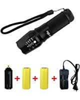 Super Bright CREE XML T6 LED Portable Zoom Tactical Flashlight Focus Adjustable 18650 Torch Outdoor Water Resistant Lamp with Battery and Charger