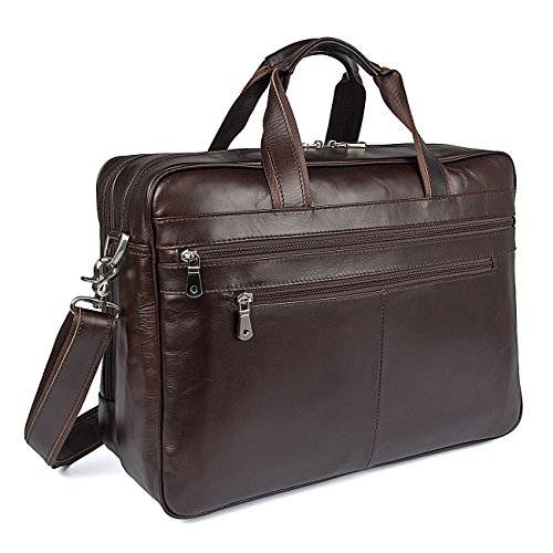 Polare Real Soft Nappa Leather 17 Laptop Case Professional Briefcase Business Bag For Men (coffee) (17' Leather Laptop Brief)