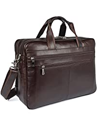 Real Soft Nappa Leather 17 Laptop Case Professional Briefcase Business Bag For Men