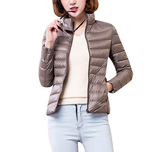 Puffer Lightweight Winter Misschicy Women's Jacket Khaki Collar Packable Down Stand Jacket Coat xx08wqXA